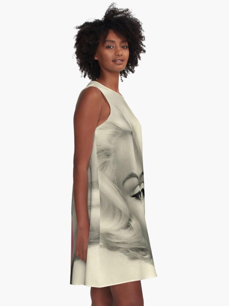 Alternative Ansicht von MARILYN MONROE: Blasengeblasener Druck A-Linien Kleid
