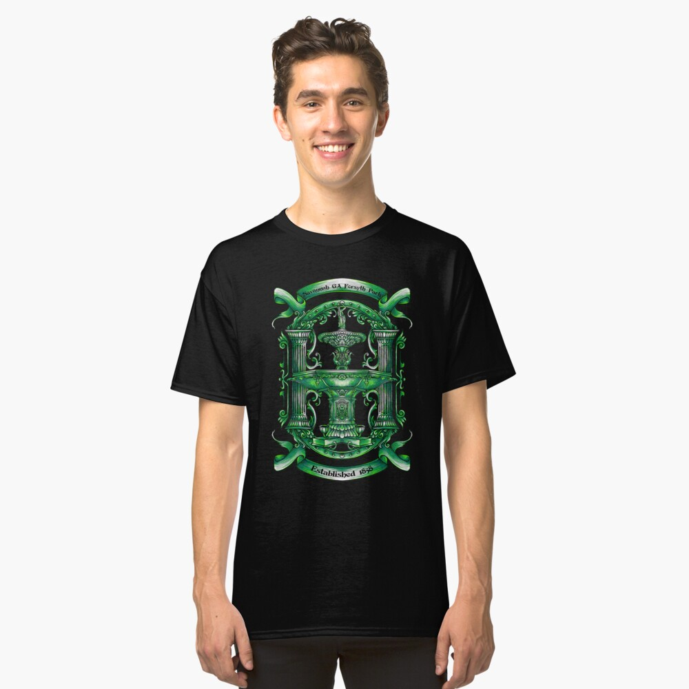 """Savannah Forsyth Fountain """" Greening of the Foutain ST. Patrick Day Classic T-Shirt Front"""