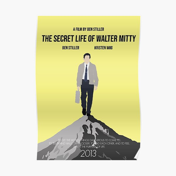 The Secret Life of Walter Mitty Minimalist Movie Poster Poster