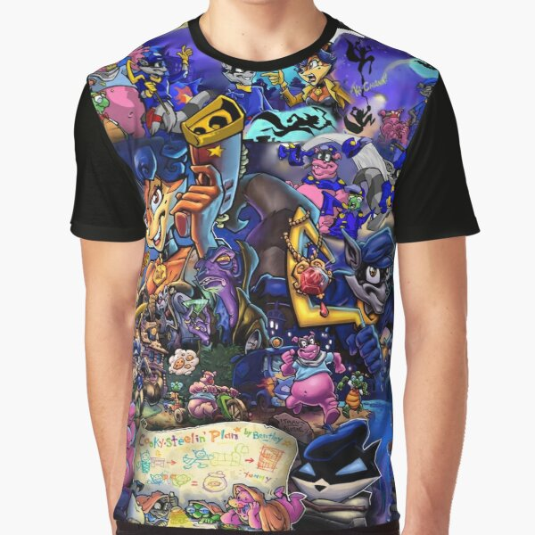 Comic Collage Sly Cooper Graphic T-Shirt