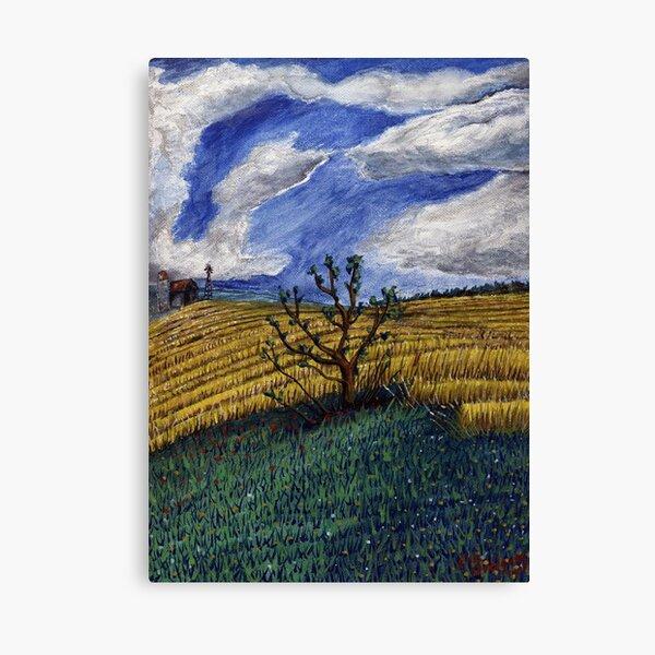 Tree of life amongst fields of wheat Canvas Print