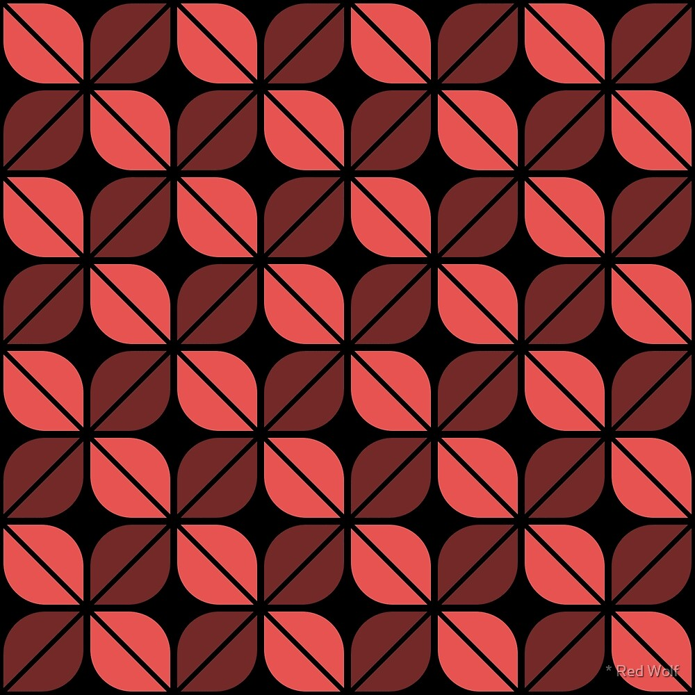 Geometric Pattern: Leaf: Red/Black by * Red Wolf