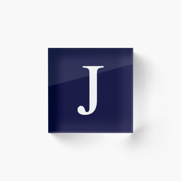 Navy Blue Basic Monogram J Acrylic Block