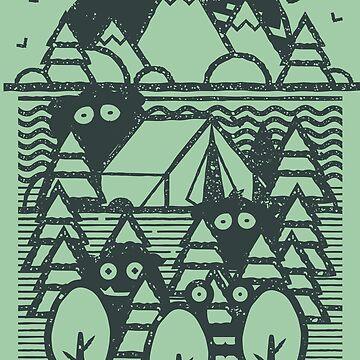 Monsters In The Woods by artlahdesigns