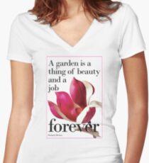 For Literature Loving Gardeners  Women's Fitted V-Neck T-Shirt