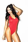 """Fashion Art Photography Poster Print - """"Modern Pinup - Brunette in Red"""" Featuring a Hot Sexy Brunette Model with Tattoos- Tshirts - Mugs - Phone Cases and More.  by Nico Simon Princely"""