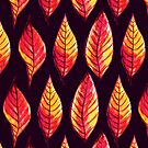 Vibrant autumn leaves pattern in red and yellow by Boriana Giormova