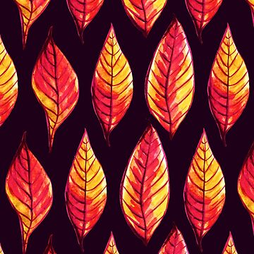 Vibrant autumn leaves pattern in red and yellow by azzza