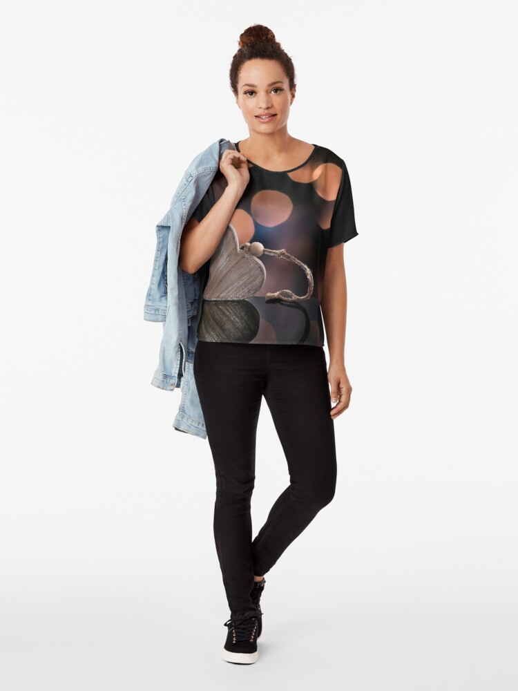 Alternate view of Love heart reflections  Chiffon Top