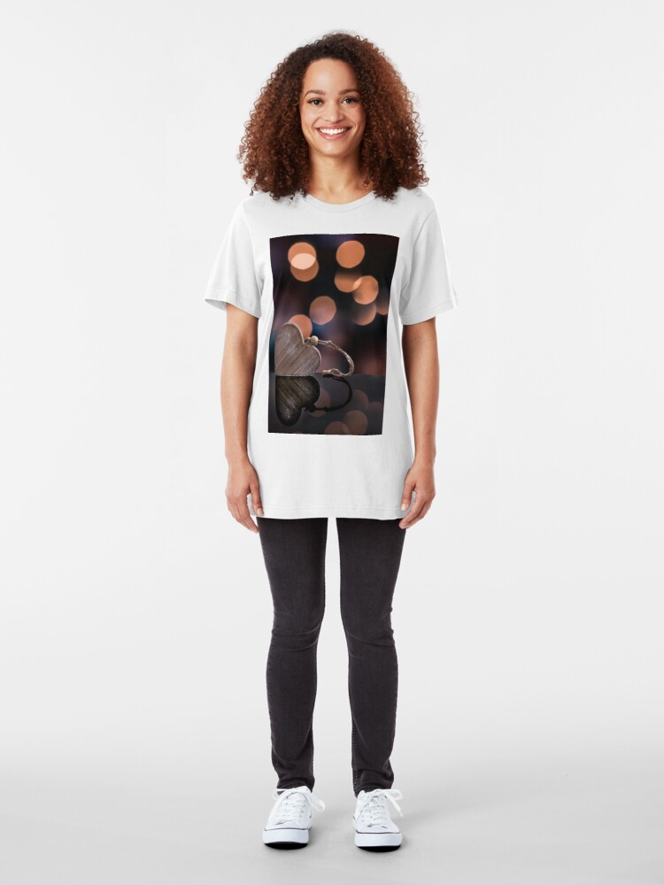 Alternate view of Love heart reflections  Slim Fit T-Shirt