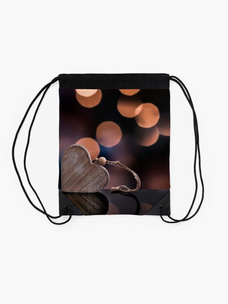 Alternate view of Love heart reflections  Drawstring Bag