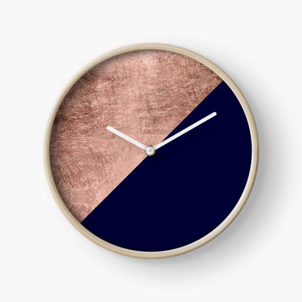 Minimalist rose gold navy blue color block geometric Clock