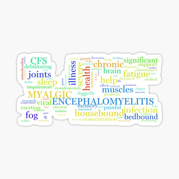 ME/CFS Wordcloud (Colour2) Sticker