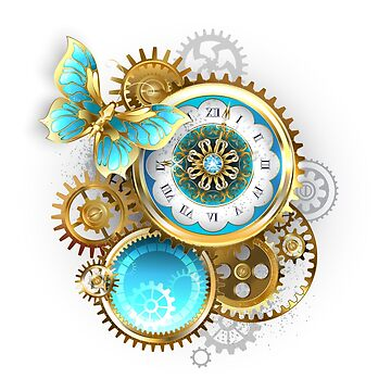 Clock and Gear with Butterfly ( Steampunk ) by Blackmoon9