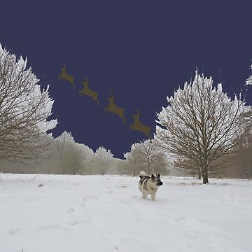Reindeer Departure (Navy, With Elkhound) by CreativeEm
