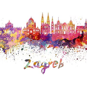 Zagreb skyline in watercolor by paulrommer