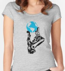 Earth in robot hand Women's Fitted Scoop T-Shirt