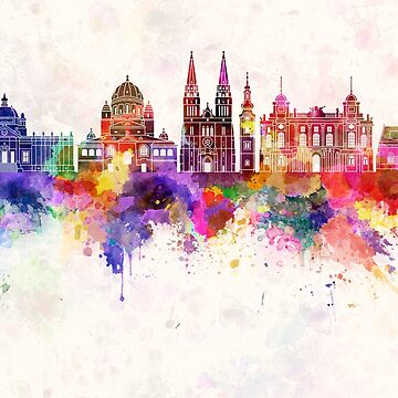 Zagreb skyline in watercolor background by paulrommer