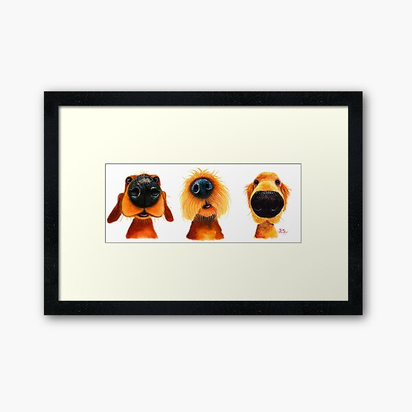 NoSeY DoG PRiNT ' THe PuPPY DoGS ' By Shirley MacArthur Framed Art Print