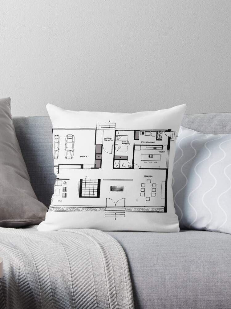 Architecture Plan Drawing Throw Pillow By Aghlessan Redbubble