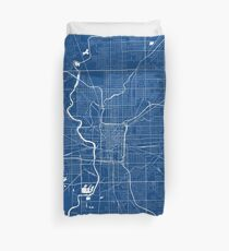 Indianapolis Map In Colts Colors Duvet Cover