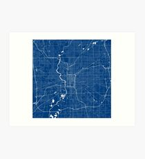 Indianapolis Map In Colts Colors Art Print