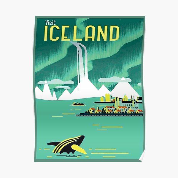 ICELAND : Vintage Travel and Tourism Advertising Print Poster