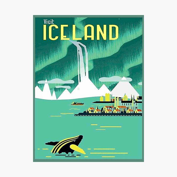 ICELAND : Vintage Travel and Tourism Advertising Print Photographic Print