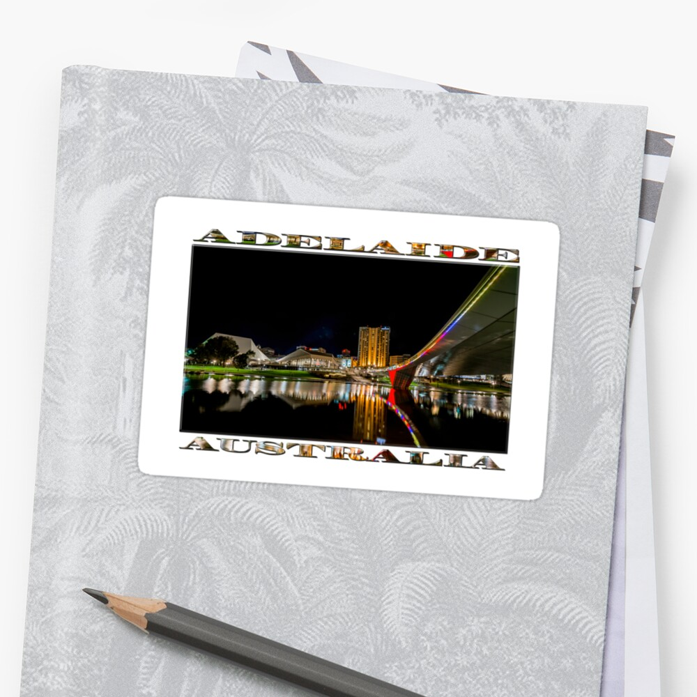 Adelaide Riverbank at Night (poster on white) Sticker