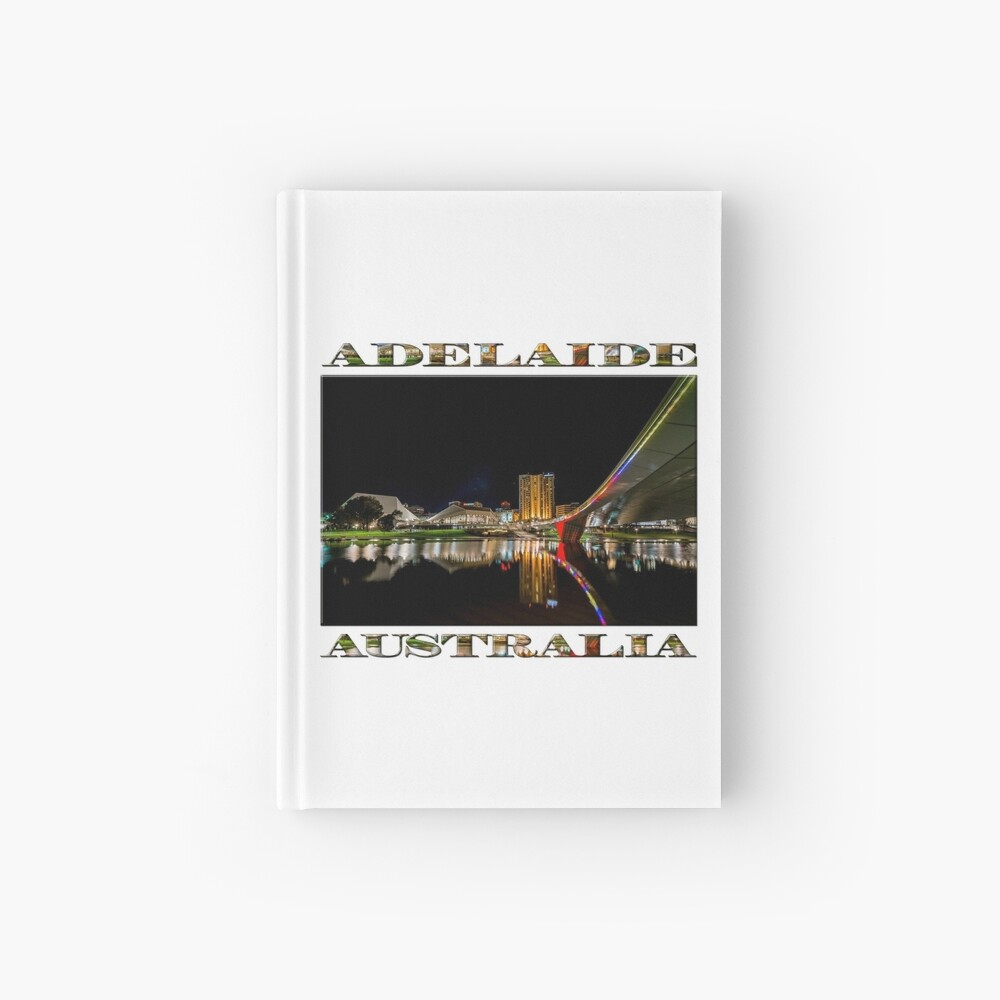 Adelaide Riverbank at Night (poster on white) Hardcover Journal