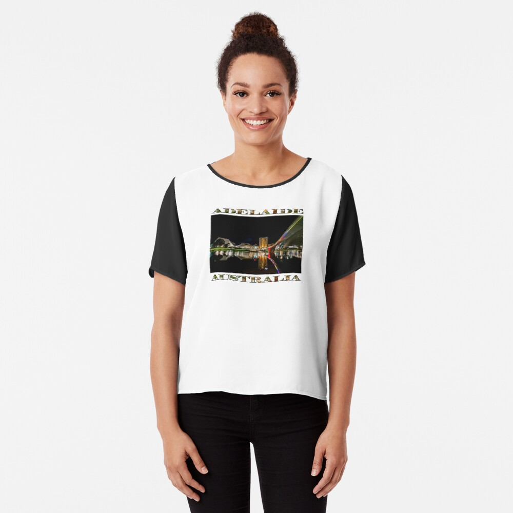 Adelaide Riverbank at Night (poster on white) Chiffon Top
