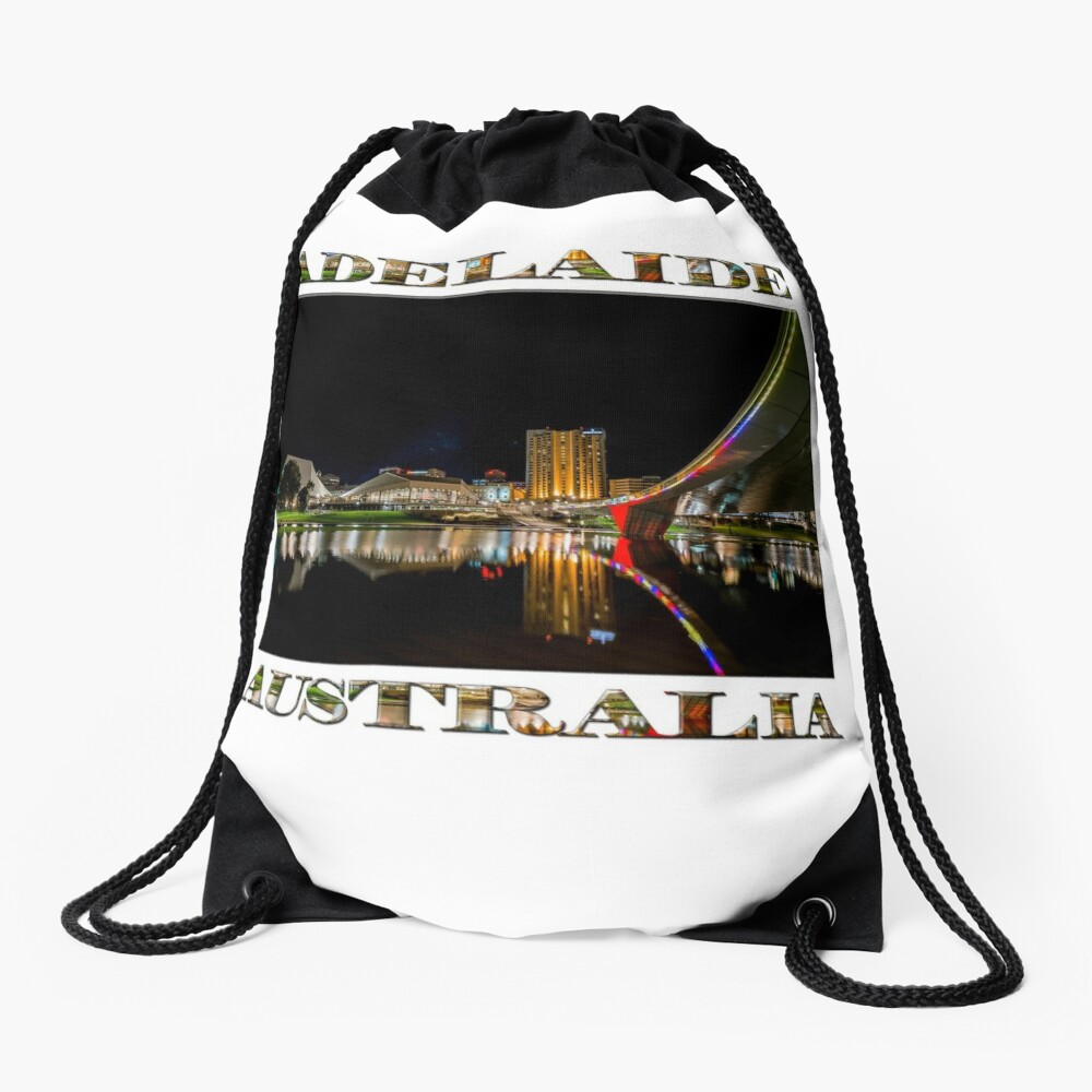 Adelaide Riverbank at Night (poster on white) Drawstring Bag