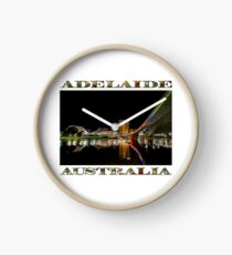 Adelaide Riverbank at Night (poster on white) Clock