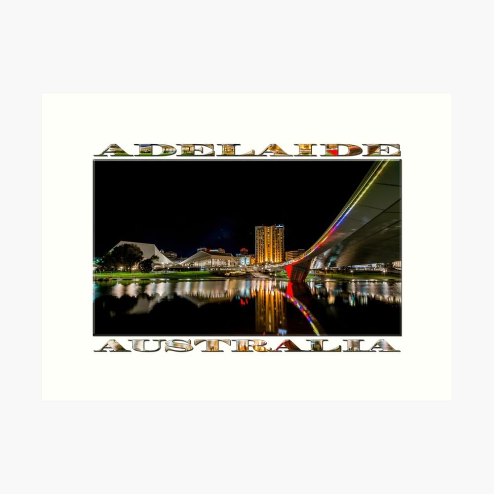 Adelaide Riverbank at Night (poster on white) Art Print