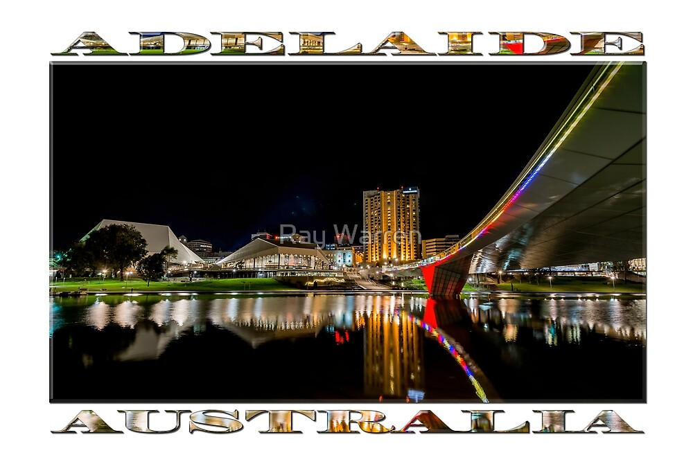 Adelaide Riverbank at Night (poster on white) by Ray Warren