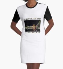 Adelaide Riverbank at Night (poster on white) Graphic T-Shirt Dress