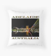 Adelaide Riverbank at Night (poster on white) Throw Pillow