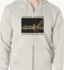 Adelaide Riverbank at Night (poster on white) Zipped Hoodie