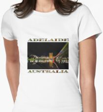 Adelaide Riverbank at Night (poster on white) Women's Fitted T-Shirt