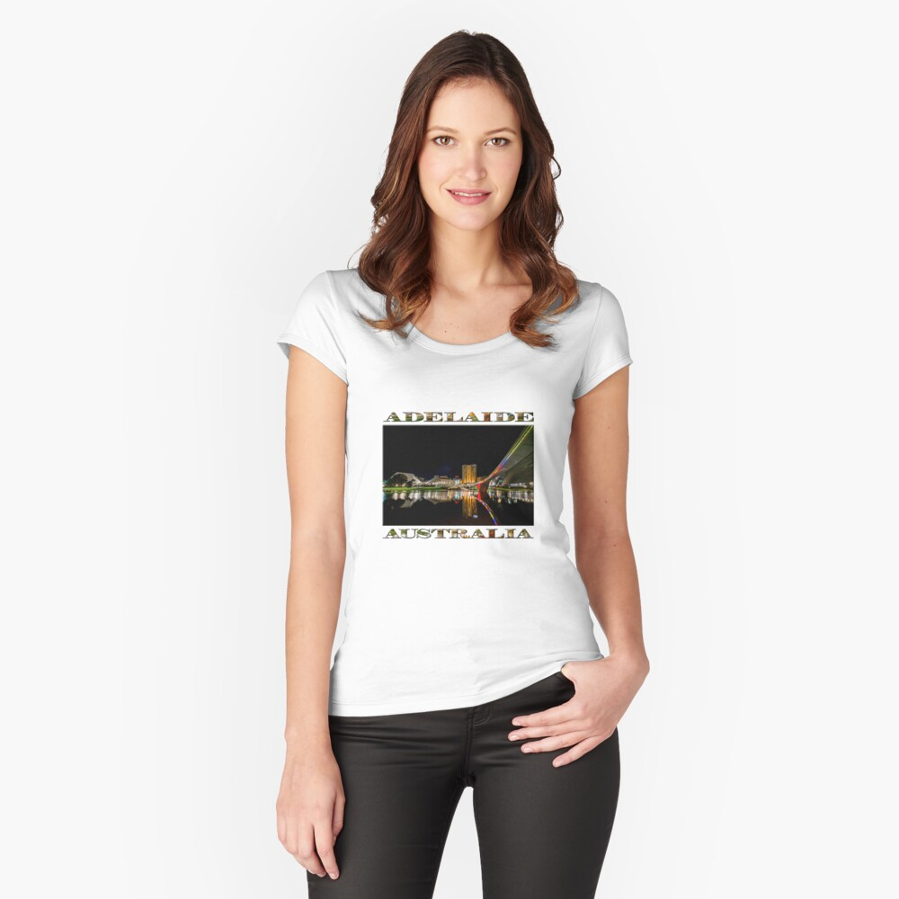 Adelaide Riverbank at Night (poster on white) Fitted Scoop T-Shirt