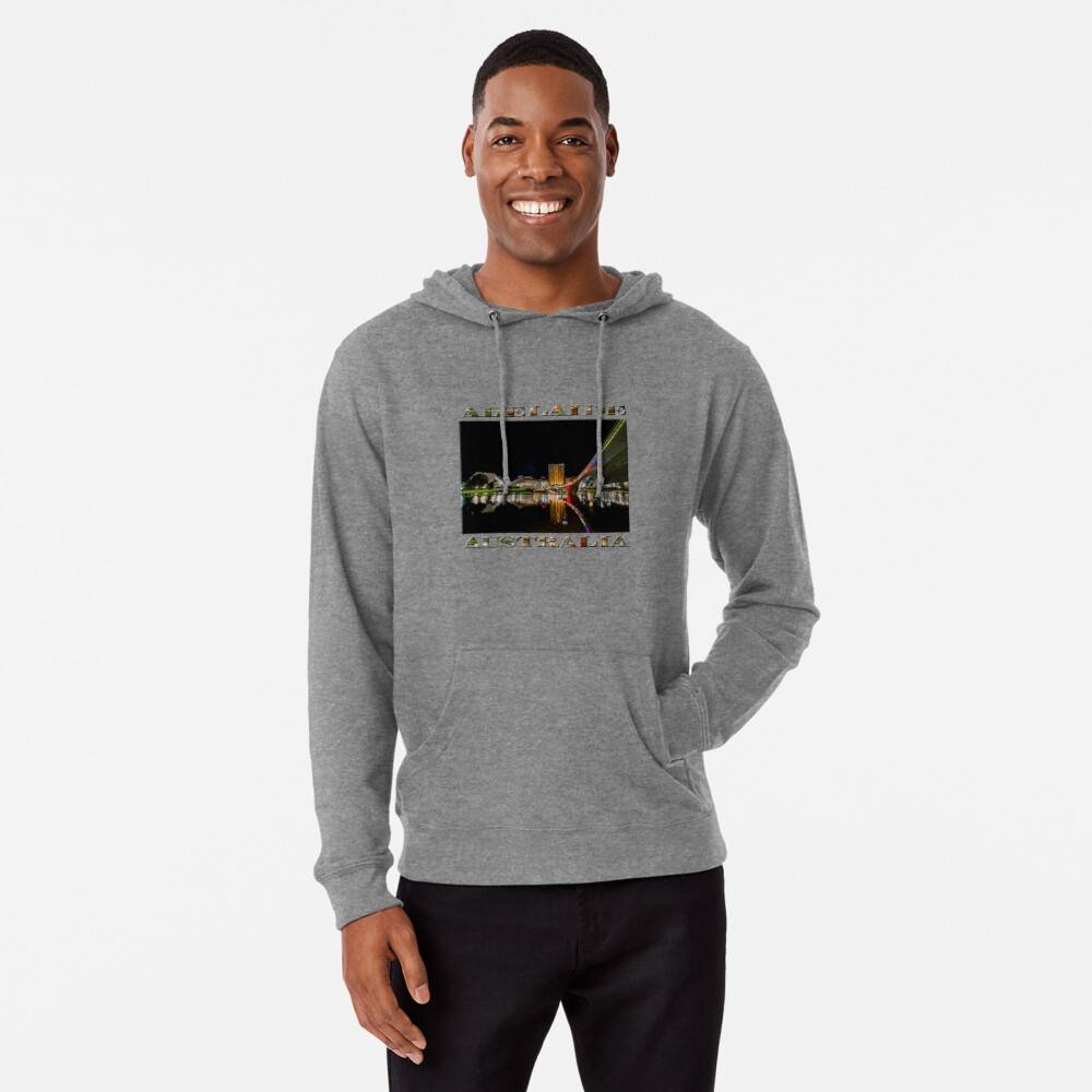 Adelaide Riverbank at Night (poster on white) Lightweight Hoodie
