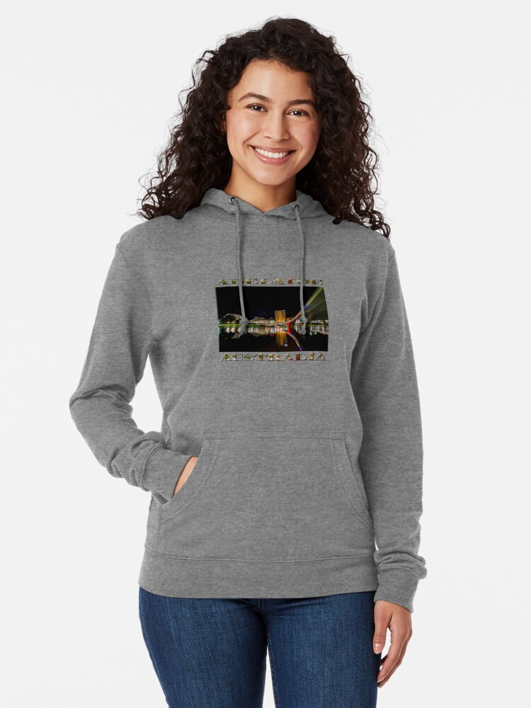 Alternate view of Adelaide Riverbank at Night (poster on white) Lightweight Hoodie