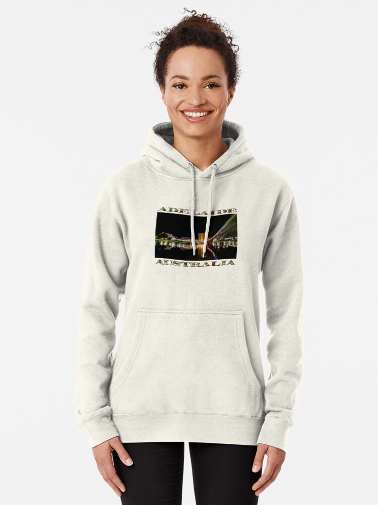 Alternate view of Adelaide Riverbank at Night (poster on white) Pullover Hoodie