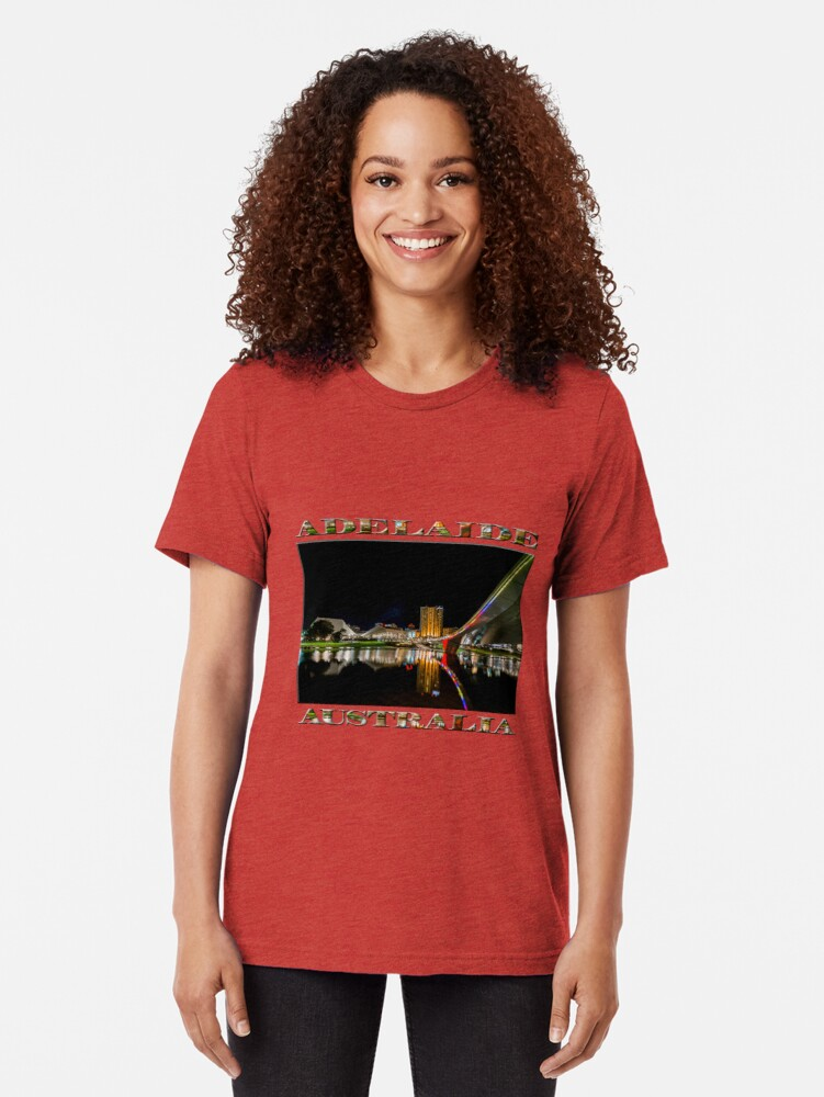 Alternate view of Adelaide Riverbank at Night (poster on white) Tri-blend T-Shirt