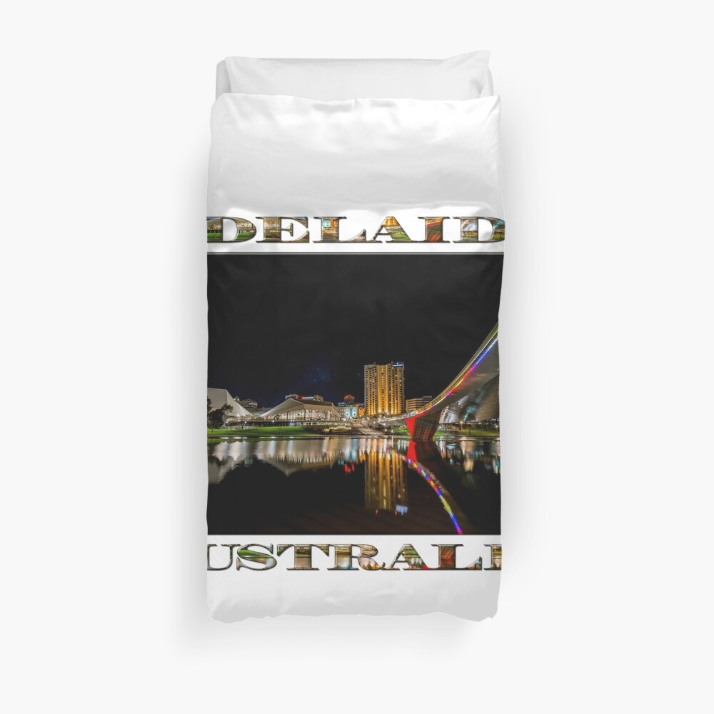 Adelaide Riverbank at Night (poster on white) Duvet Cover