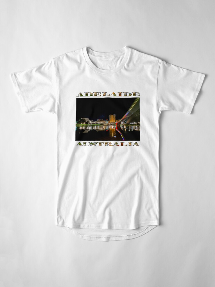 Alternate view of Adelaide Riverbank at Night (poster on white) Long T-Shirt