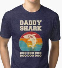 Camiseta de tejido mixto Papá tiburón Doo Doo Doo Día del padre de la vendimia Papá