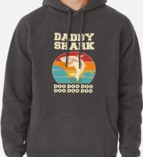 Daddy Shark Doo Doo Doo Vintage Fathers Day Dad Pullover Hoodie