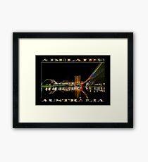 Adelaide Riverbank at Night (poster on black) Framed Print