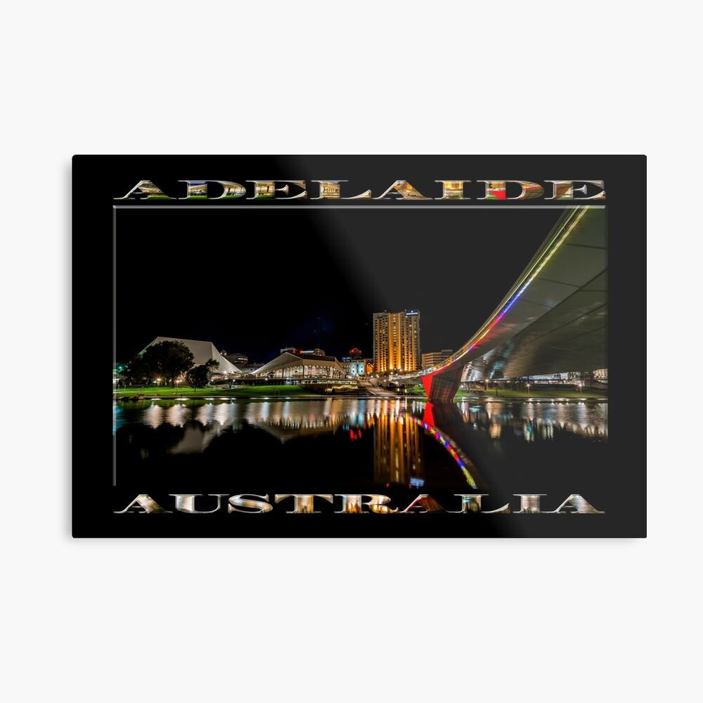Adelaide Riverbank at Night (poster on black) Metal Print
